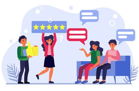 People discussing media ratings. Man and woman asking people about their feedback flat vector illustration. Social networking concept for banner, website design or landing web page