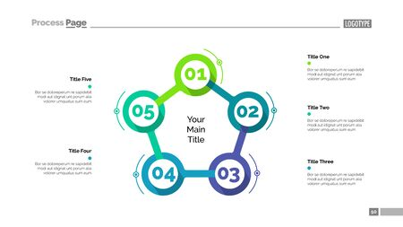 Cycle flowchart with five elements. Step diagram, option chart, layout. Creative concept for infographics, presentation, project, report. Can be used for topics like management, workflow, marketing.