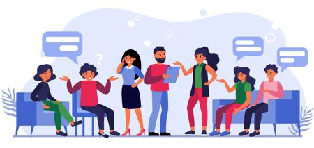 People asking questions to businesspeople. Clients sitting in lobby and talking to managers flat vector illustration. Client work concept for banner, website design or landing web page Illustration