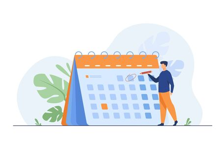 Businessman planning events, deadlines and agenda. Calendar, schedule, organization process flat vector illustration. Time management concept for banner, website design or landing web page