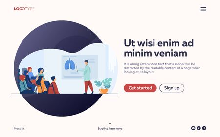 Medical college professor teaching students. Doctor presenting human lungs infographics to audience at conference. Vector illustration for seminar, lecture, healthcare meeting concept Illustration