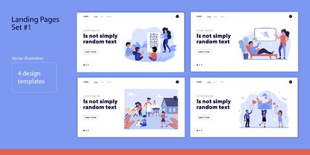 People receiving messages set. Family barbecue party, children at music class. Flat vector illustration. Communication, lifestyle, activity concept for banner, website design or landing web page Ilustrace