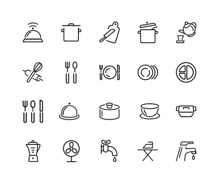 Crockery icon set..Can be used for topics like cooking, kitchenware, dinner, housework Zdjęcie Seryjne