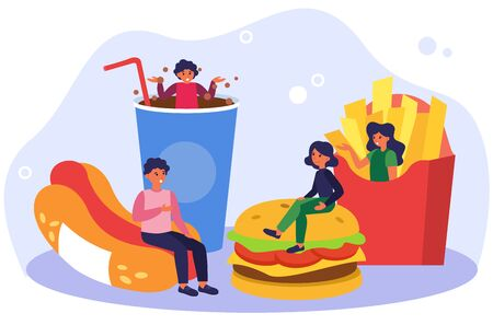 People keeping fast food diet. Meeting and talking, hotdog, French fries, hamburger flat vector illustration. Cafe, catering, unhealthy eating concept for banner, website design or landing web page Stock Illustratie