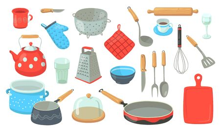 Kitchen utensil set. Tools and accessories for cooking, baking, frying. Whisk, pot, spoons, cutlery, salt, saucepan, teapot. Flat vector illustrations for household concept Çizim