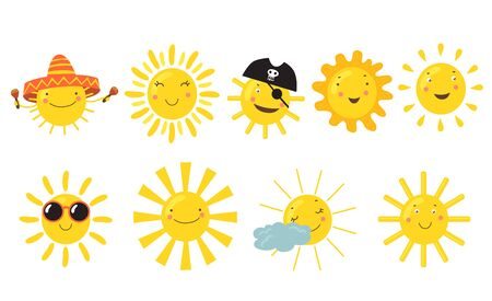 Suns with happy faces set. Cute cartoon sunshine character wearing sunglasses, Mexican sombrero or pirate hat. Flat vector illustrations for summer, clear sky, sunny weather, vacation concept