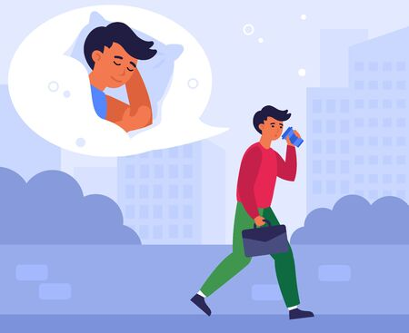 Caffeine addict, insomnia, sleeping man, office work exhaustion concept. Sleepy employee walking outdoors, drinking coffee. Sad tired exhausted businessman feeling burnout. Flat vector illustration