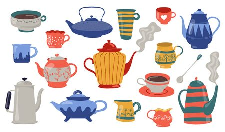 Teapots and cups flat icon set. Cartoon colorful ceramic, porcelain or metal home kitchenware isolated vector illustration collection. Kitchen, cooking and pottery concept