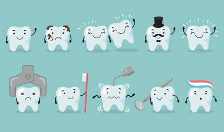 Teeth care set. Tooth cartoon character suffering from cavity. Sad or happy shiny teeth, dentist tools, toothbrush, dental care. Flat vector illustration.
