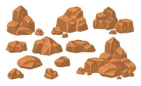 Heaps of rock stones set. Piles of massive brown boulders and cobbles isolated on blue background. Flat vector illustration for mountains, granite, rough mineral concept Illustration
