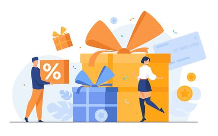 Loyalty program concept. People getting gifts and rewards from store, bonus points, discount. Flat vector illustration for promotion, commerce, sale, marketing topics Vecteurs