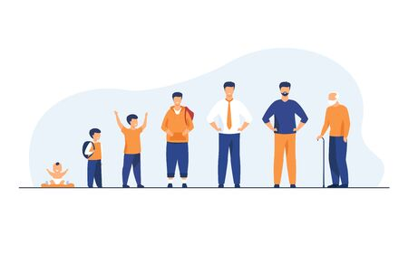Man life cycle concept. Set of male character in different age. Baby, kid, boy, pupil, student, adult, pensioner, old man standing in line. Flat vector illustration for age and generation topics