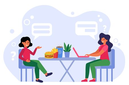 Woman working on project while her female friend eating fast food. Talk, chatting, discussion flat vector illustration. Lunch time, lifestyle concept for banner, website design or landing web page