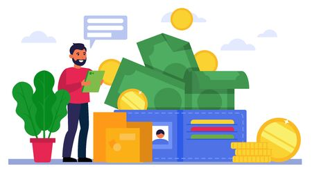 Happy man counting his money. Wallet, budget, investment income, profit, salary flat vector illustration. Finance, financial success concept for banner, website design or landing web page