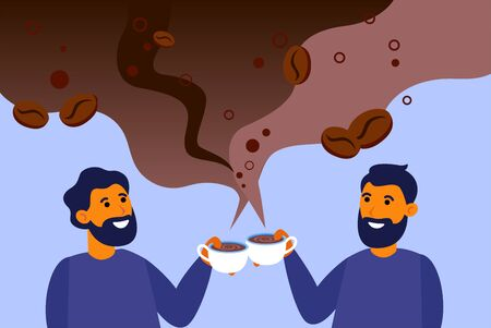 Cheerful men drinking aromatic black coffee. Americano, cup, mug, steaming cloud flat vector illustration. Morning, coffee shop concept for banner, website design or landing web page Vectores