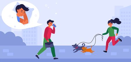 Sleepy man drinking coffee on way to work. Man meeting woman jogging with dogs in morning flat vector illustration. Coffee and caffeine concept for banner, website design or landing web page