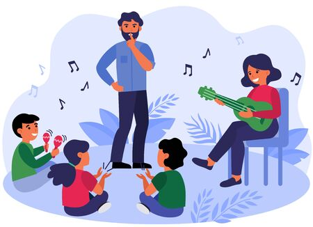 Father asking kids to keep silence. Playing guitar, maracas, fun flat vector illustration. Family, music concept for banner, website design or landing web page 向量圖像