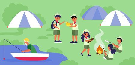 Scouts camp at lake shore. Group of children, boy scouts, landscape flat vector illustration. Vacation, exploration, recreation concept for banner, website design or landing web page Vectores