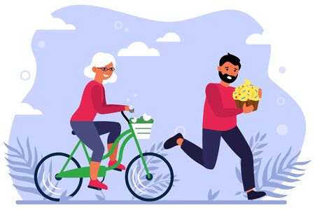 Happy old woman riding bike. Unhappy worried man running and holding sweet cupcake flat vector illustration. Activity, lifestyle, unhealthy food concept for banner, website design or landing web page