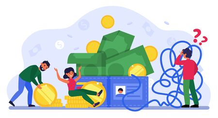 People earning and counting money. Cash, accounting, tangled rope flat vector illustration. Finance, financial success concept for banner, website design or landing web page Illusztráció