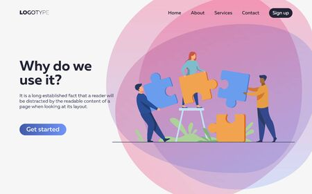Partners holding big jigsaw puzzle pieces flat vector illustration. Successful partnership, communication and collaboration metaphor. Teamwork and business cooperation concept. Vecteurs