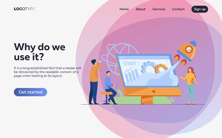 Team starting project. Workgroup working on startup, launching rocket from monitor with growth chart. Vector illustration for new business idea concept Illustration
