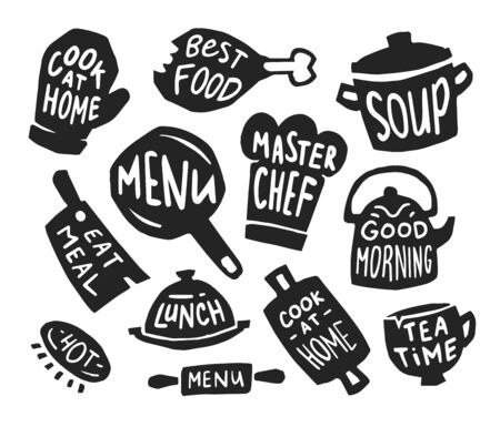 Restaurant and bistro flat icon set. Menu stickers, pot with text, and food logo emblems vector illustration collection. Kitchen, nutrition, lettering and calligraphy concept