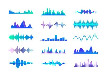 Colorful sound waves set. Multicolor audio lines, music waveforms vector illustration collection. Sound, audio, radio and digital studio equalizer concept  イラスト・ベクター素材