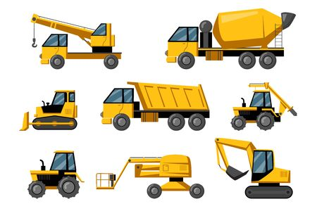 Construction trucks set. Yellow heavy machines for building works. Bulldozer, excavator, quarry, tractor collection isolated on white background. Building industry concept