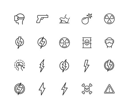Dangerous icons. Set of twenty line icons. Bomb, radiation sign, lightning bolt. Caution symbols concept. illustration can be used for topics like safety, signs and symbols