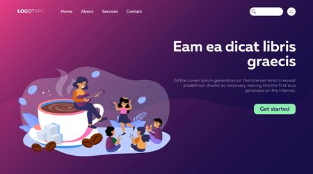 Woman sitting on coffee cup and playing guitar to children. Happy family morning flat vector illustration. Coffee break concept for banner, website design or landing web page