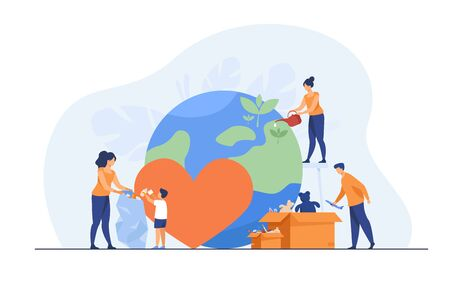 Social team helping charity and sharing hope flat vector illustration. Cartoon people giving humanitarian help and aid. Volunteering, emergency service and safety concept