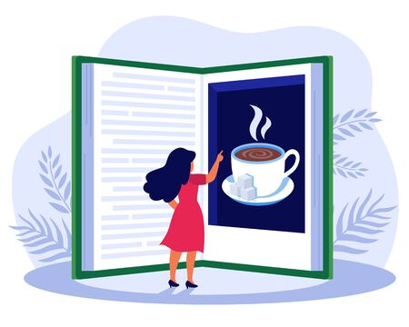 Woman reading book about coffee. Girl standing at huge book picture book flat vector illustration. Coffee culture concept for banner, website design or landing web page