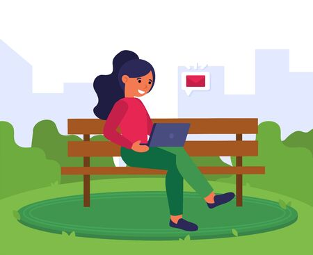 Young woman receiving email on laptop. Girl sitting on bench and using computer outdoors flat vector illustration. Wireless communication concept for banner, website design or landing web page