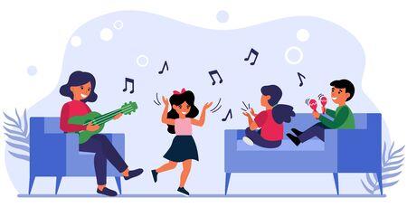 Children having fun at music class. Teacher playing guitar, kids dancing, singing flat vector illustration. School, teaching, childhood concept for banner, website design or landing web page 向量圖像