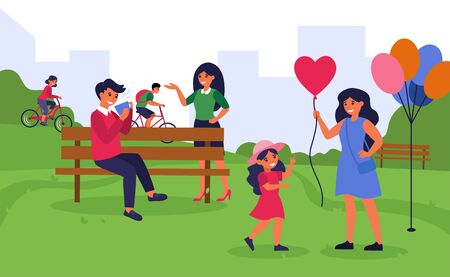 People spending time in public park. Woman talking to man drinking coffee, mother walking with daughter flat vector illustration. Weekend concept for banner, website design or landing web page Illustration