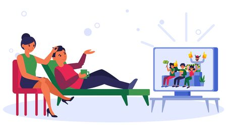 Couple watching football fans on TV. Show, sport match support, leisure flat vector illustration. Sport addiction, championship, fan club concept for banner, website design or landing web page