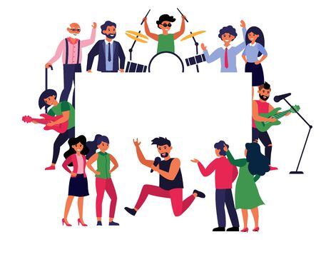 Rock musicians and fans around empty banner. Rockers playing instrument, concert flat vector illustration. Show, entertainment, announcement concept for banner, website design or landing web page