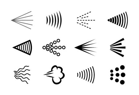 Spray haze collection. Scattered clouds, shower, jets and fogs, aerosol steam in air, monochrome vector illustrations on white background. Can be used for hairspray or deodorant, condensation topics Vecteurs