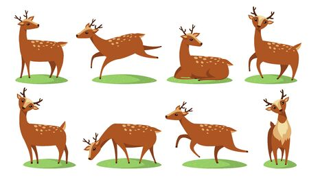 Funny baby deer flat icon set. Cartoon character of cute fawn standing, sitting, walking isolated vector illustration collection. Wildlife and animals concept