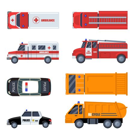 Various emergency vehicles flat icon set. Cartoon police car, ambulance, firefighters automobile, garbage truck isolated vector illustration collection. Urban special transport concept Vector Illustratie