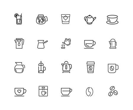 Tea and coffee icons. Set of twenty line icons. Tea cup, coffee bean, teapot. Beverage concept. illustration can be used for topics like drinks, kitchen equipment, cafe