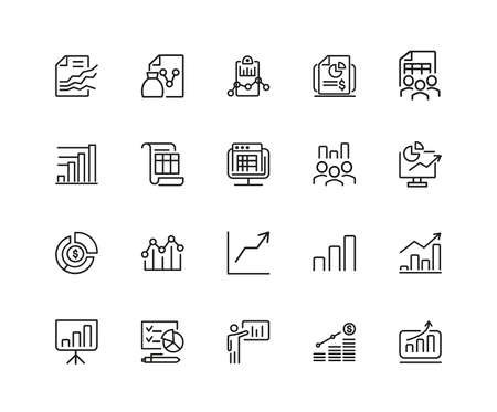 Diagram icons. Set of twenty line icons. Financial growth, presentation, report. Business concept. illustration can be used for topics like analysis, finance, accounting.