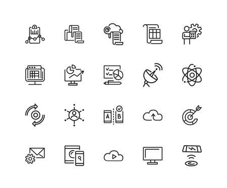 Web content icons. Set of twenty line icons. Analysis, cloud service, satellite. Modern technology concept. illustration can be used for topics like data storage, apps, digital devices. Stockfoto
