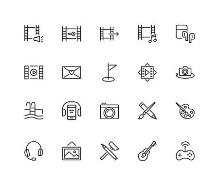 Leisure icons. Set of twenty line icons. Swimming pool, camera, paints. Entertainment concept. illustration can be used for topics like hobby, activity, easy time.