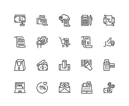 Purchase icons. Set of twenty line icons. Cash back, receipt, payment. Shopping concept. illustration can be used for topics like online store, discount, personal finance