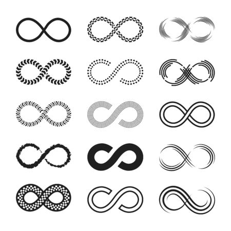 Infinity signs set. Endless eternity symbols, black eight geometric shapes isolated on white background. Can be used for logo or emblem design, Moebius loop concept Logo