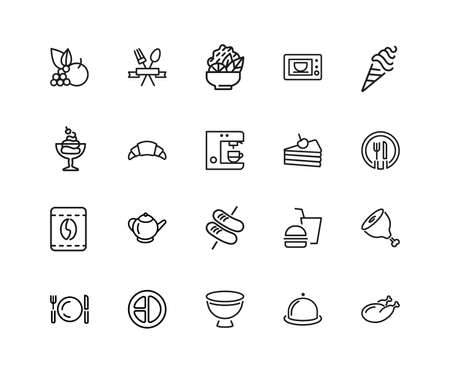 Meal icons. Set of twenty line icons. Restaurant, coffee shop, bakery. Food service concept. illustration can be used for topics like food, lunch, cafe. Stockfoto