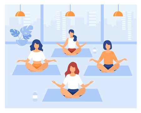 People practicing yoga. Women exercising at yoga class, sitting in lotus pose, meditating with teacher. Vector illustration can be used for physical activity, fitness, gym concept Illustration