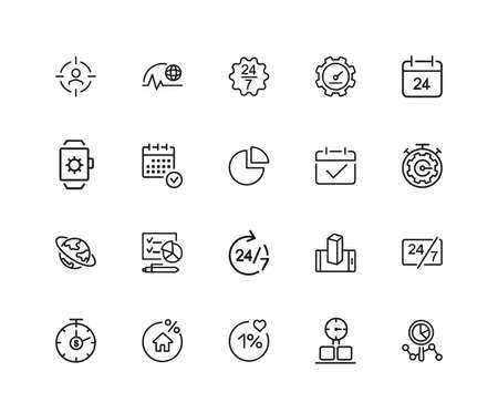 Timing icons. Set of twenty line icons. All the day, deadline, schedule. Time management concept. illustration can be used for topics like business, management, efficiency